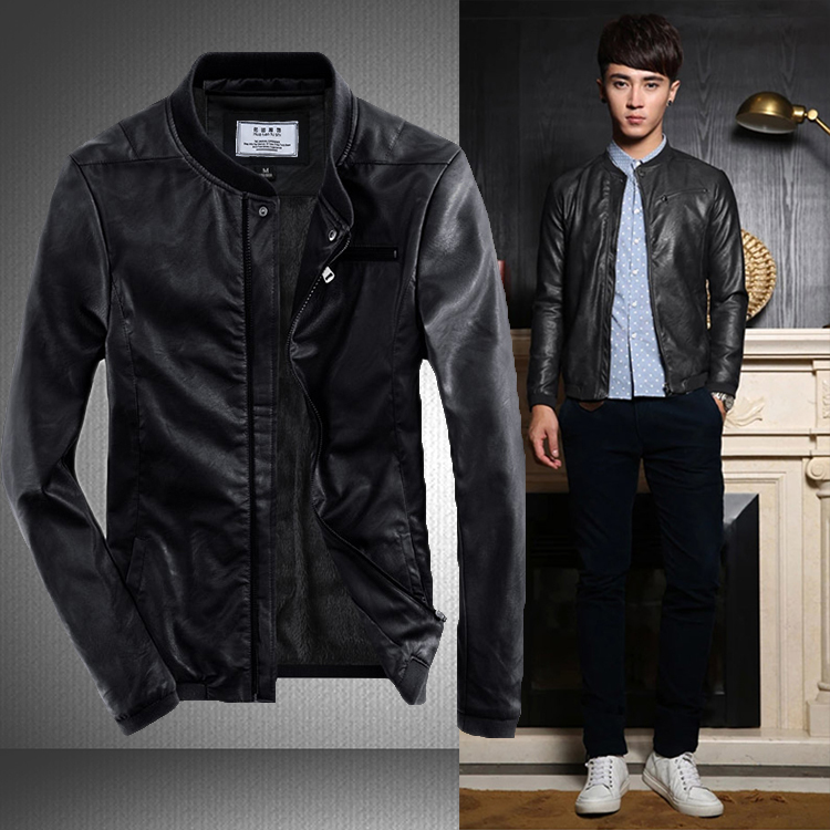 Leather Jacket Men Fall & Winter Casual Thicken Warm Short leather ...