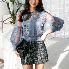2018 Spring Korean Japan Style Chic Sexy Lace Blouse Women Long Lantern Sleeve Shirt Floral Elegant Tops Mesh blusas femininas