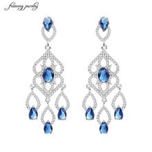 Luxury African Nigerian Design Dangling Drop Cubic Zirconia Big Royal Blue Vintage Wedding Earring For Brides Valentine's gift