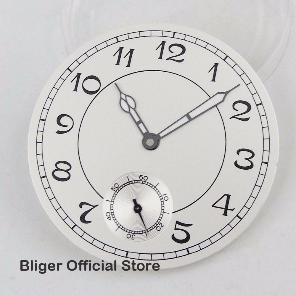 Classic 38.9mm White Nologo Watch Dial + Luminous Hands Fit For ETA 6498 <font><b>ST3600</b></font> Hand Winding Movement image