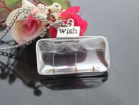 2PCS 38X20MM Real dandelion seeds necklace,Real dandelion seeds necklace -real dried dandelion seeds in glass cabs