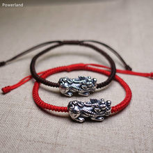 Real S990 Sterling Silver Brave Troops Men Bracelet Lucky Pixiu Bangle Wax String Fashion Friendship Gift Handmade Jewelry(China)