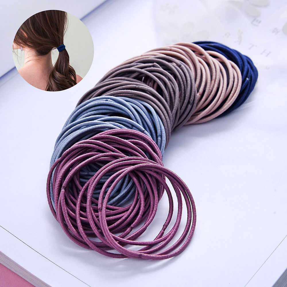 1-50Pcs/Set Black Blue Pink Elastic Hairbands For Girls Fashion Women Scrunchie Gum For Hair Accessories Elastic Hair Bands 2019