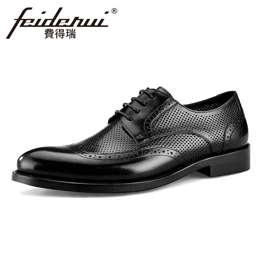 Summer Breathable Genuine Leather Men's Wingtip Oxfords Round Toe Man Office Flats British Formal Dress Male Brogue Shoes BQL39 mens genuine leather oxfords shoes for men breathable stitching dress shoe british style casual flats oxford pointed toe zapatos