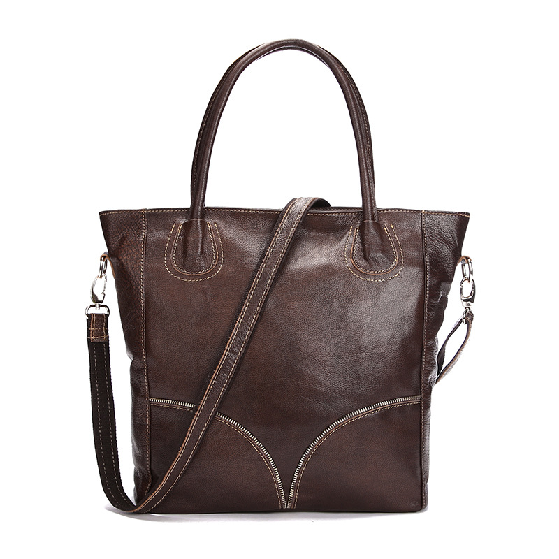 Women Genuine Leather Ladies Handbag Shoulder Bags Famous Brand Top Handle Bag Large Capacity Thread Casual Totes Brown Hand bag new genuine leather women bag messenger bags casual shoulder bags famous brand fashion designer handbag bucket women totes 2017