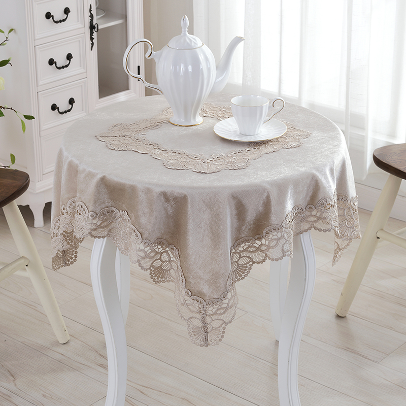 [WIT]85x85cm Lace Fabric Tablecloth Square Table Cloth Champagne Lace Table  Cloths For Wedding High Grade All Purpose Lace Cover In Tablecloths From  Home ...
