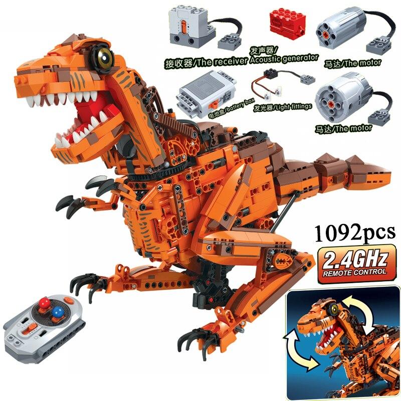 MOC Dinosaurs Animals Remote Control 2.4GHz Technic with Motor Box 1092pcs Building Blocks Bricks legoing Creator Toys for Kids