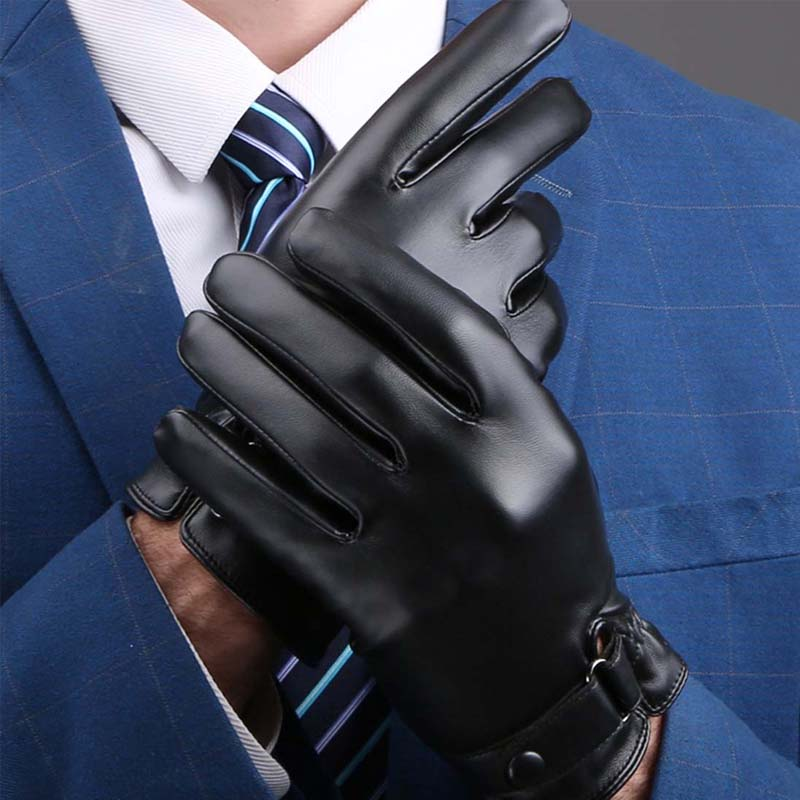Mens Winter Driving Touchscreen Texting Leather Gloves