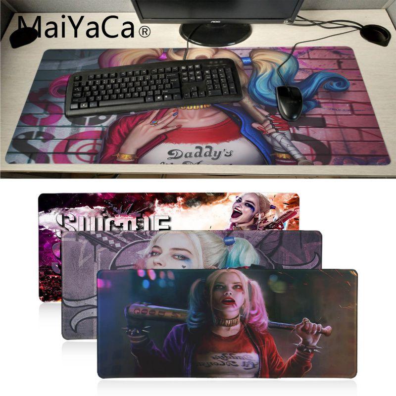 MaiYaCa Beautiful Anime Harley Quinn Customized Laptop Gaming Mouse Pad Locking Edge Rubber Large Mousepads