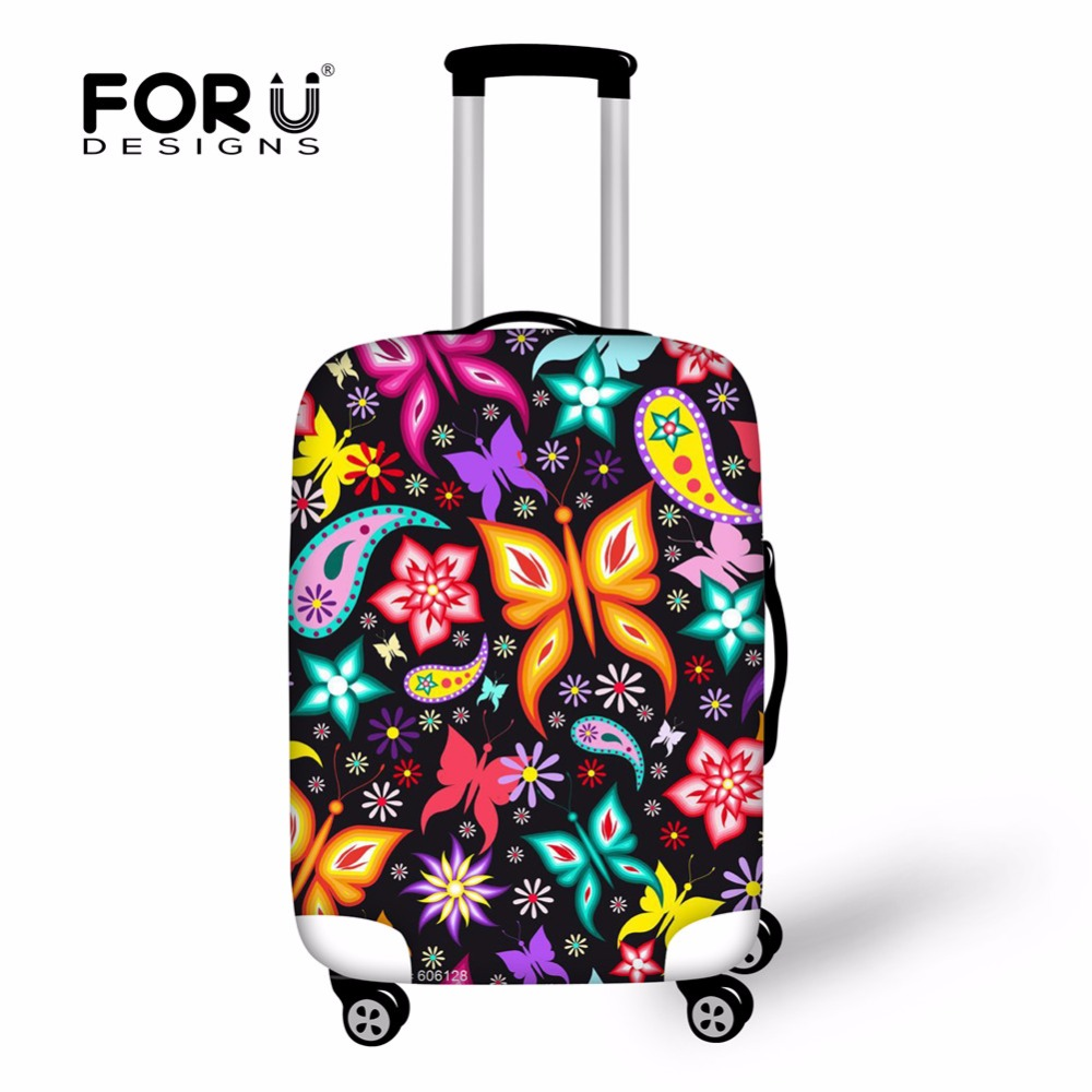 FORUDESIGNS Luggage Protective Cover For 18-30 Inch 3D Butterfly Trolley Suitcase Elastic Waterproof Covers Luggage Accessories