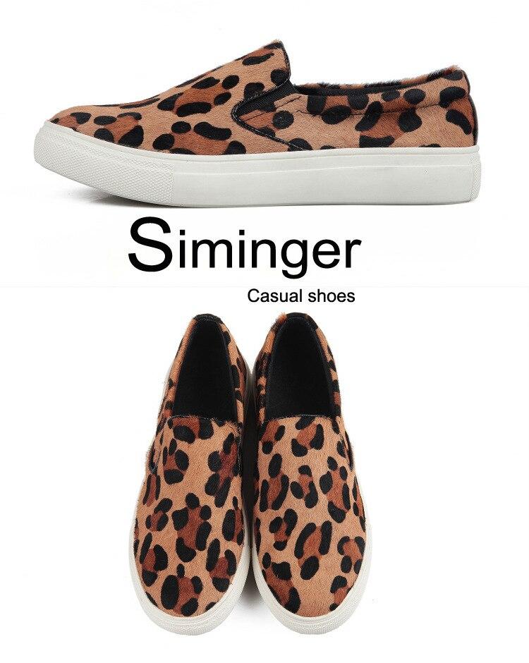 Mujeres 1 2019 Cuero Y Mujer Caballo Con Mocasines Leopardo Piso Genuino Crin De Estilo 2 Zapatos Estampado Nuevo aaOxqgAS