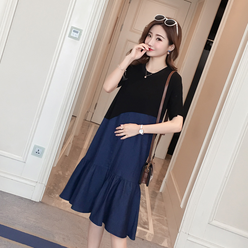 2133# Stylish Denim Patchwork Cotton Maternity Dress Summer Korean Fashion 3XL Clothes for Pregnant Women 4XL Pregnancy Clothing