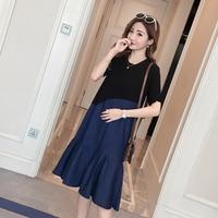 2133# Stylish Denim Patchwork Cotton Maternity Dress Summer Korean Fashion 3XL Clothes for Pregnant Women 4XL Pregnancy Clothing