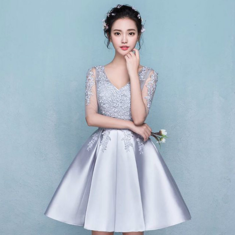 Cheap mini gray prom dress 2017 fast shipping