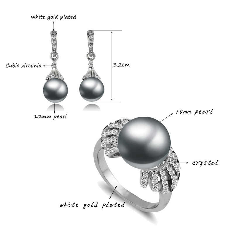 SINLEERY Elegant Imitation Gray Pearl Jewelry Sets For Women Silver Color Earrings And Ring Set Wedding Accessories Tz126 SSB