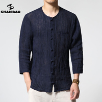 SHAN BAO Brand Autumn New Men S Thin Section Pure Color Linen Shirt Luxury High Quality