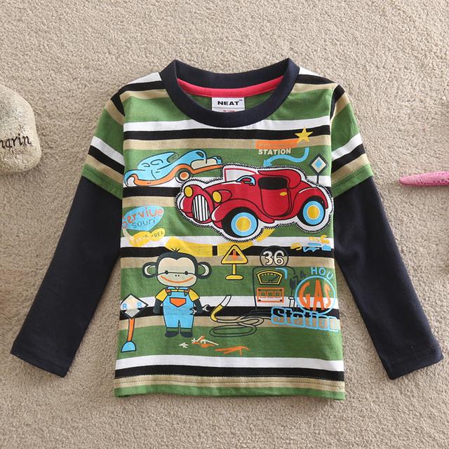 NEAT Atacado novo 2016 do bebê menino roupa dos miúdos adoráveis macacos e carro menino 100% algodão de manga comprida T-shirt dos desenhos animados impresso L821 #