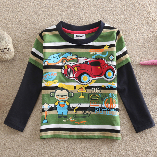 NEAT Wholesale new 2016 baby boy clothes kids lovely monkeys and printed cartoon car boy 100% cotton long sleeve T-shirt L821#