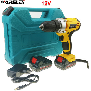 12V electric drill power tools Cordless Drill Like Handheld sans fil Electric Tools Mini Drill 2 battery The plastic box EU PLUG