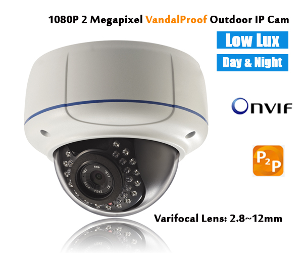 IP camera 1080p Low lux Vandalproof day night outdoor dome 2MP Varifocal lens 2.8~12mm ONVIF P2P HD security digital network IPC