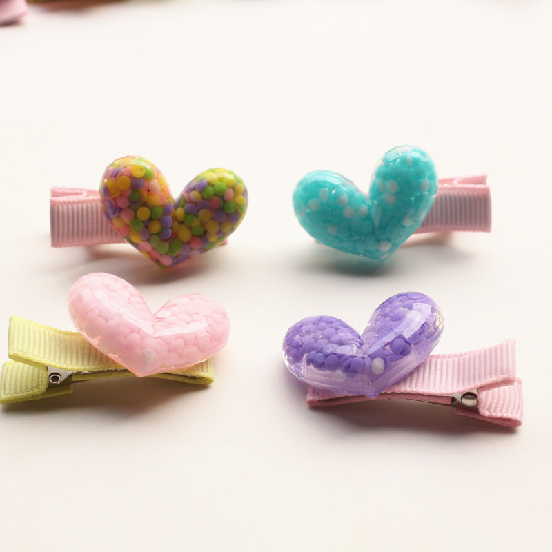 Girls Novelty Hairpins 4pairs/lot Plastic Love Heart Cute Kids Hair Clips Children Hairpin Good quality Headwear