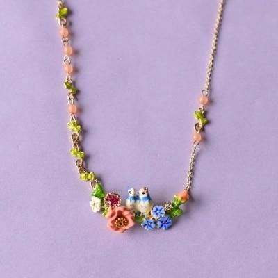 France  Les  Nereides  Enamel  Glaze  Copper  Romantic  Tit  Bird  Flower  Women  Necklace