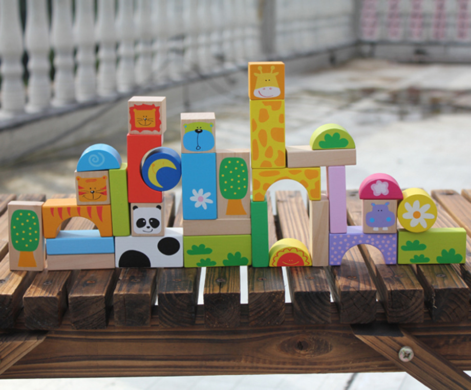 32 PCs children Brand wooden cartoon blocks/ Kids geometric animal assemble English blocks for learning educational toys