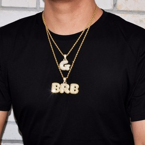 Image 5 - Custom Name Bubble Letters Chain Pendants Necklaces Mens Zircon Hip Hop Jewelry With 4MM Gold Tennis Chain