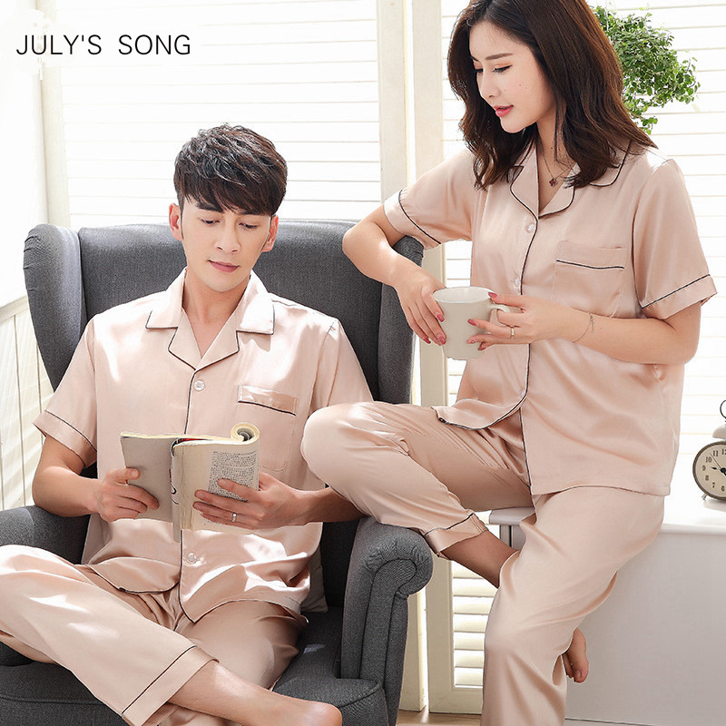 JULY'S SONG 2019 New Spring Summer Women Man Faux Silk Satin   Pajamas     Set   2 PCS Long Sleeves Couple Sleepwear   Pajamas   Suit Shorts