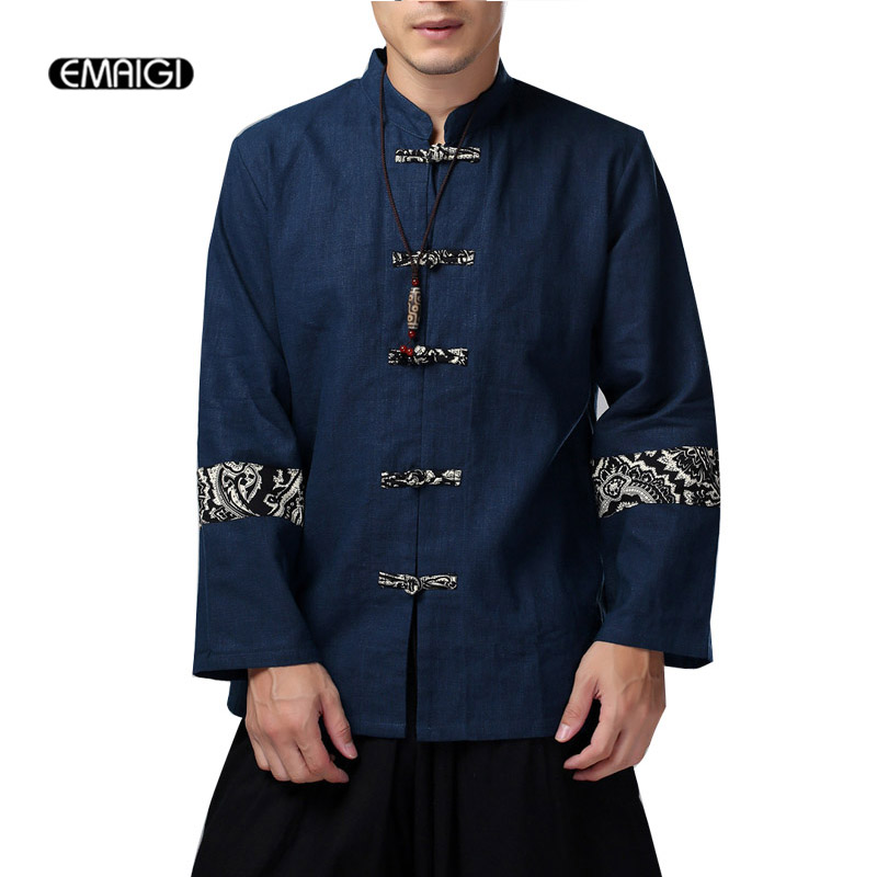 Men china style jacket loose parquet plate buttons  jacket male high-quality cotton linen casual coat men spring  clothing