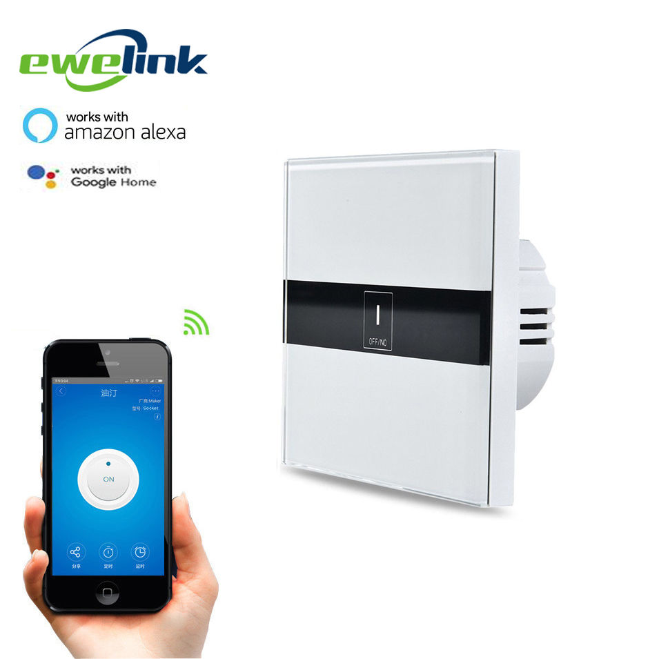 EU Standard eWelink 1 Gang 1 way Wifi Control Switch via Android IOS, Wireless Control Light Touch Wall Switch for Smart Home ewelink us type 2 gang wall light smart switch touch control panel wifi remote control via smart phone work with alexa ewelink