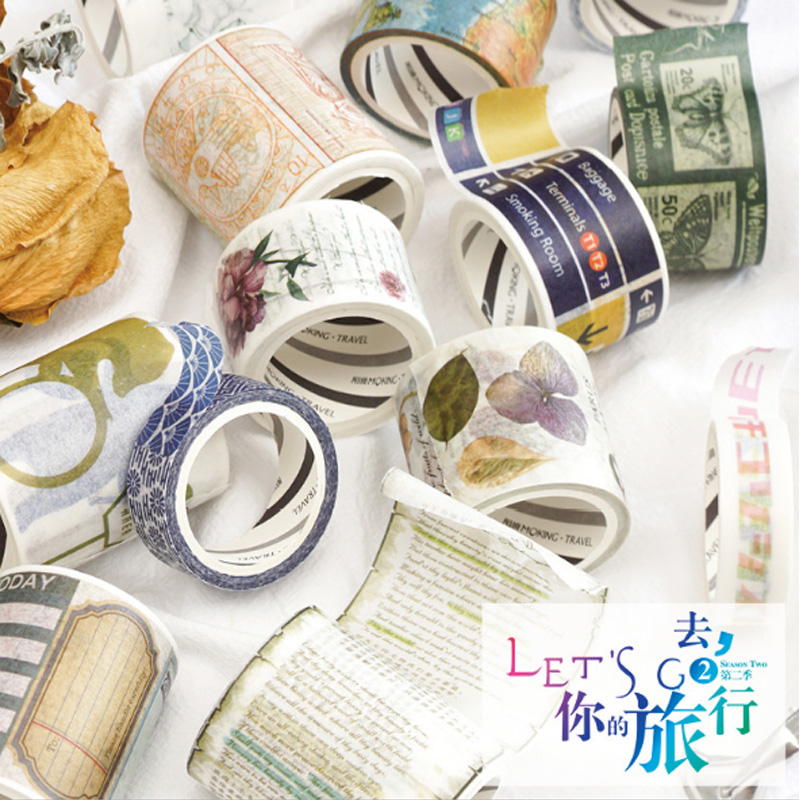 15-50mmX5M New Creative travel decoration borders series Washi Tape Kawaii diy Tapes Scrapbook Tools Crafts Paper Tape Supplies business across borders