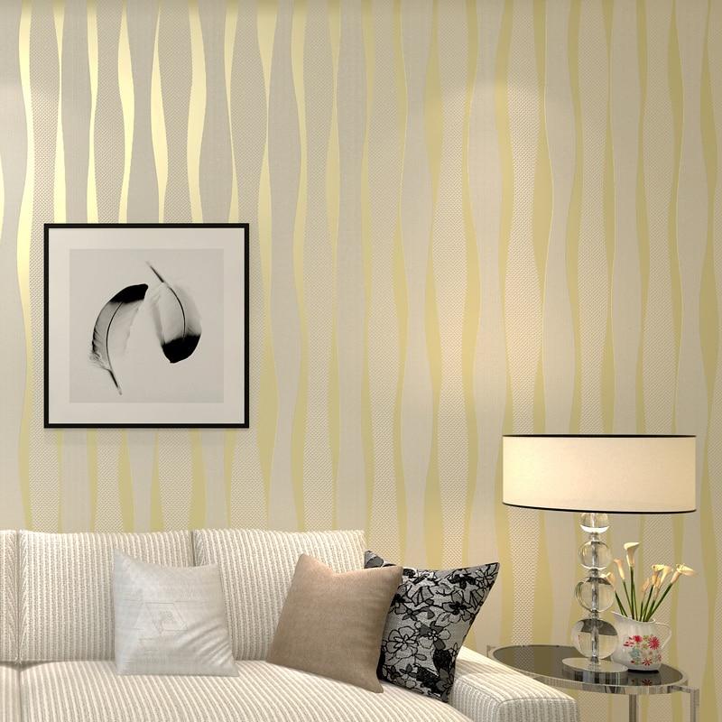 Gold White Modern Design Metallic 3D Stripes Wallpaper