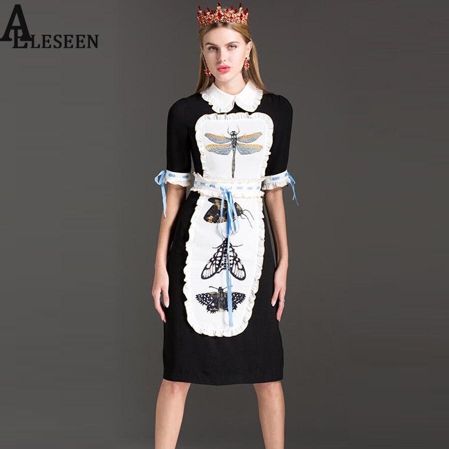 Bohemian Dresses 2017 Summer Fashion Dragonfly Butterfly Print Peter Pan Collar Waist Elestic Knee-Length Elegant Slim Dress