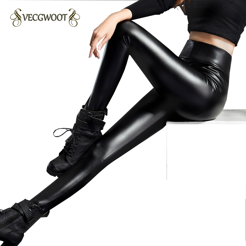 PU Leather Women's Pants Winter 2018 New High waist Leggings Plus Velvet Thickening Waichuan Large size Women long Pants WYT484