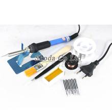 Free shipping 8pcs/set EU plug Adjustable constant temperature Internal heating electric soldering iron+5pcs iron tips+Tin wire~