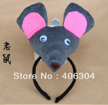 Free shipping,10ps/lot,children adult christmas pink mouse face ear headband,halloween performance headwear