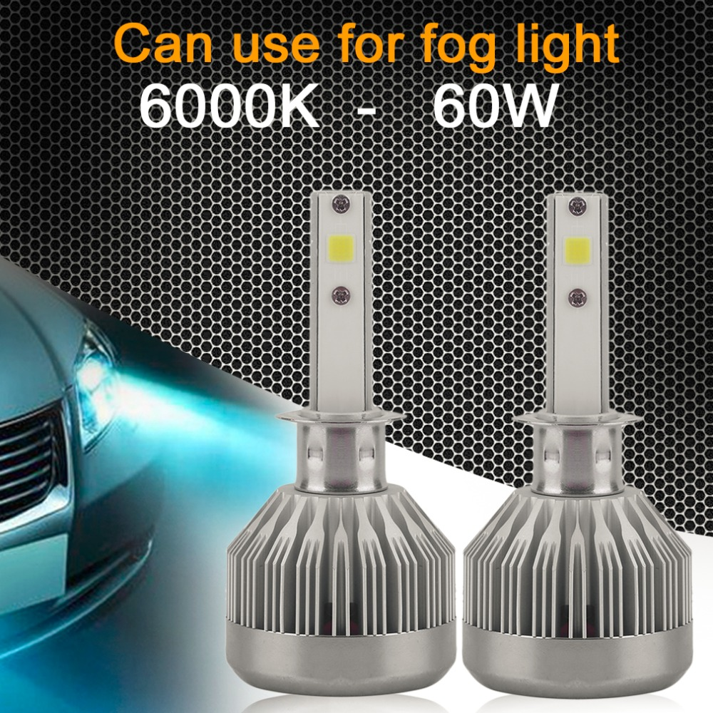 2Pcs Car Headlight COB LED Chips Headlights LED Headlight Bulbs Headlamp 60W 6000LM LED Kit H1, H3, H7, H8/H9/H11,9003/HB3/HB4