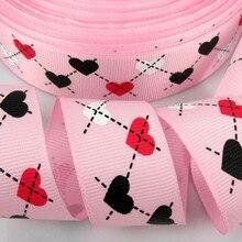 """10 ярдов 1 """"печать многоцветный сердце Grosgrain лента для рукоделия аксессуары для волос лента Свадебная Упаковка 25 мм лента бант"""