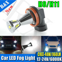Pair 48W Super Bright 9 SMD H8 H11 Vehicle CREEXB D LED White Day Driving Fog