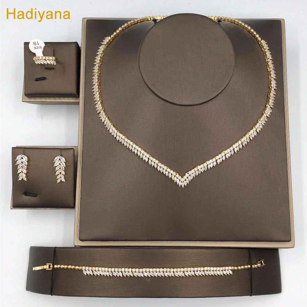 Leaves Shape 4pcs Jewelry Sets With AAA Cubic Zirconia Dinner Party Gorgeous Woman Jewelry Color Plated Guaranteed Hadiyan CN206