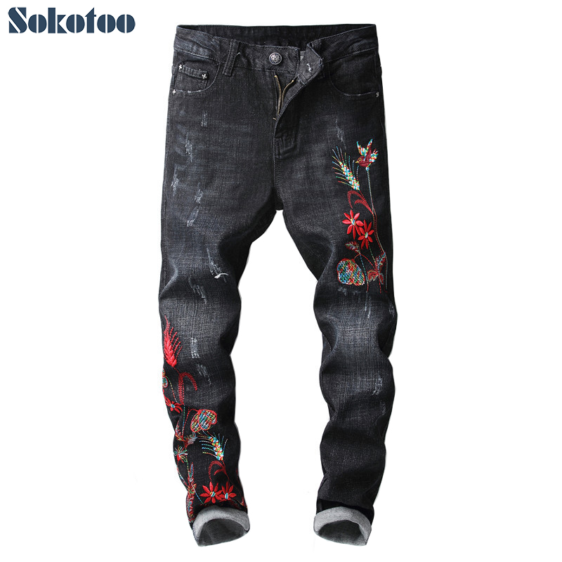 Sokotoo Mens embroidery black slim skinny pencil jeans Fashion ankle length embroidered stretch denim crop pants