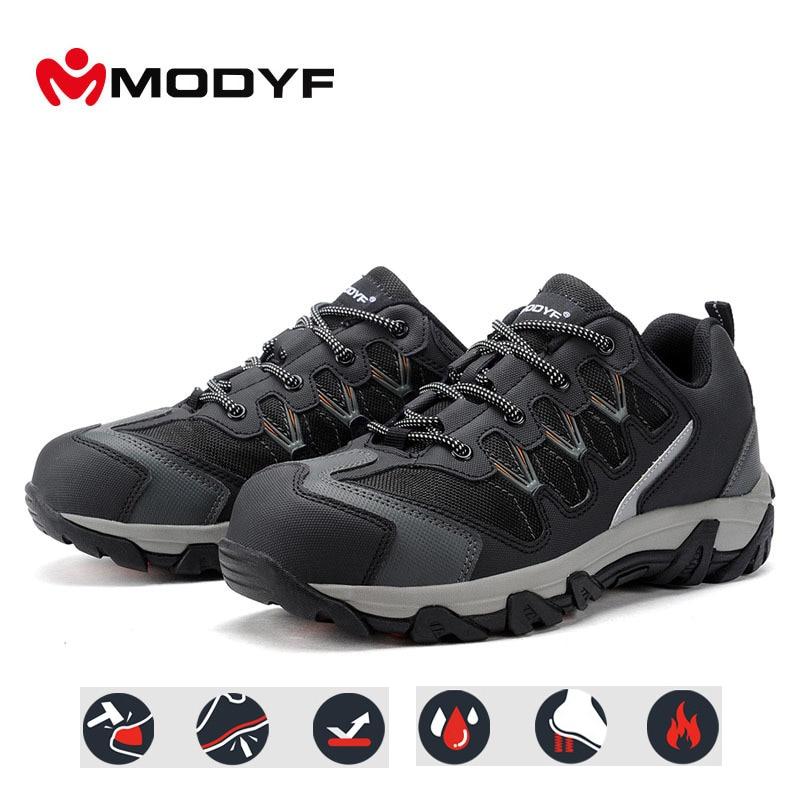 MODYF embout en acier résistant aux chocs travail chaussures de sécurité réfléchissant extérieur baskets bottes Anti crevaison chaussures de protection-in Chaussures de sécurité from Chaussures    1