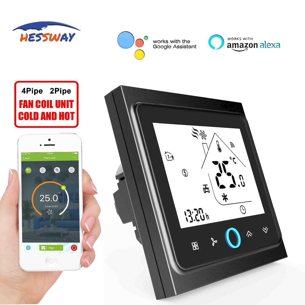 HESSWAY TUYA 95VAC To 250VAC Room THERMOSTAT WIFI Temperature Controller Lcd For 2 Pipe Cool Heat Panel