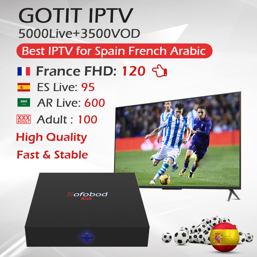 Sofobod R1 Android TV Box WiFi 4K 1 Year Spanish French IPTV Subscription GOTIT IPTV 5000Live