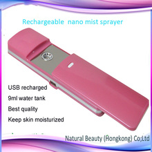 Free shipping ! Portable mini usb chargeable nano facial handy mist face steamer 9ml water tank