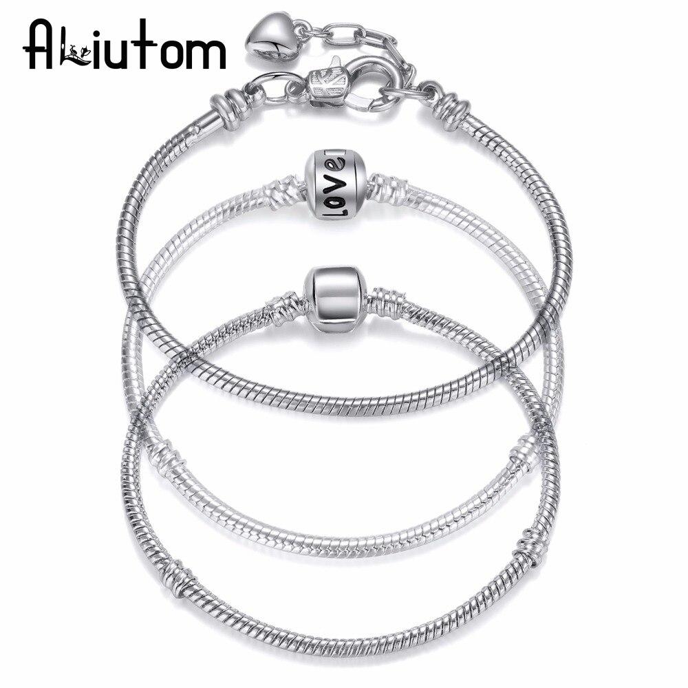ALIUTOM 2018 Hot LOVE Silver Love Snake Chain Fit Pan Charm Bracelets & Bangles Jewelry Gift For Men Women 18-19cm