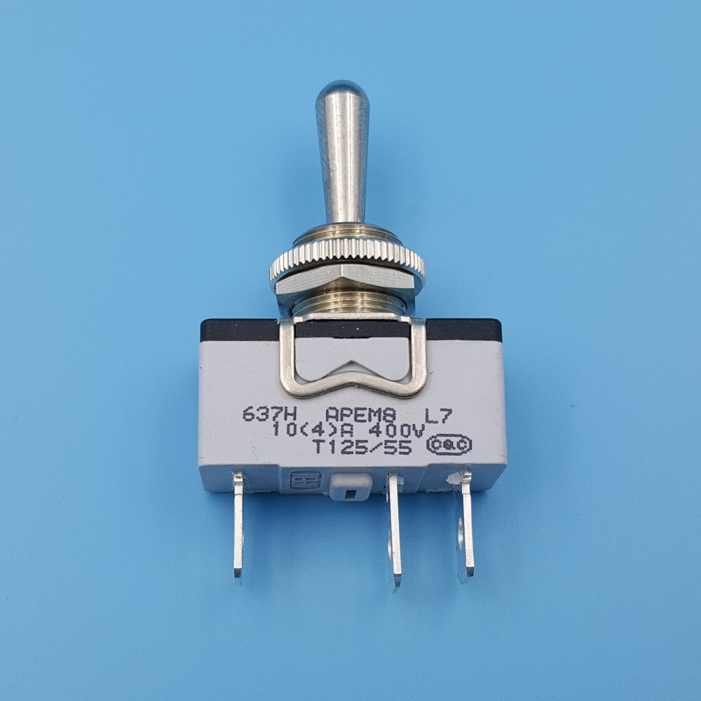 APEM 637H/2 Metal Lever 3Pin Momentary MOM-OFF-MOM 12mm Single Pole Toggle SwitchAPEM 637H/2 Metal Lever 3Pin Momentary MOM-OFF-MOM 12mm Single Pole Toggle Switch