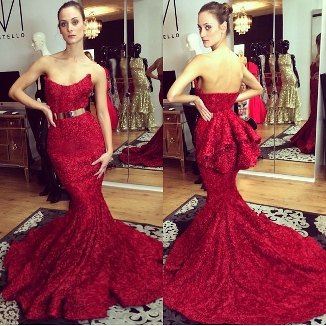 2015 Red Prom Dresses with Straps