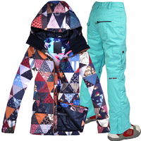 Gsou Snow womens ski suit female snowboard suit winter jacket snow pants skiing clothing wanterproof skiing jackets